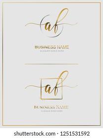 Initial A F AF handwriting logo vector. Letter handwritten logo template.