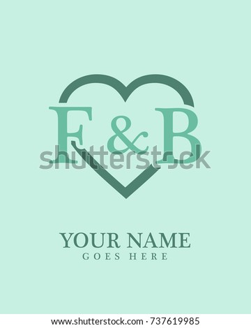 Initial F B Love Background Logo Stock Vector Royalty Free