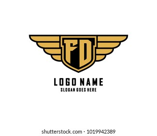 Initial F & D wing shield logo template vector