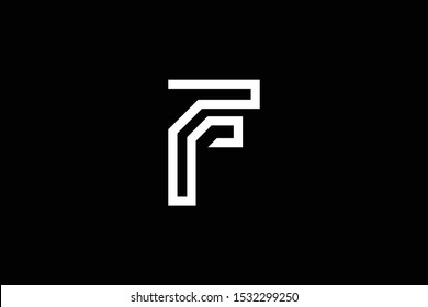 Initial F FF FR RF modern monogram and elegant logo design, Professional Letters Vector Icon Logo on black background.
