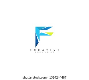 Initial F Letter Abstract Colorful Creative Polygonal Logotype