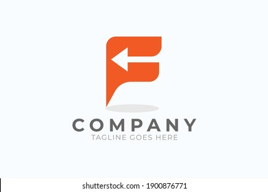 Initial F Logo, letter F with with arrow inside, Usable for Business and logistic Logos, Flat Vector Logo Design Template, vector illustration