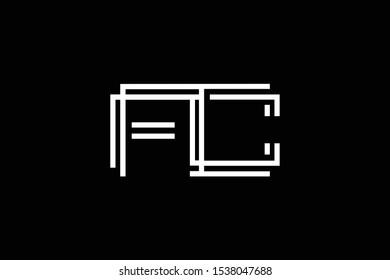 Initial FC CF modern monogram and elegant logo design, Professional Letters Vector Icon Logo on black background.