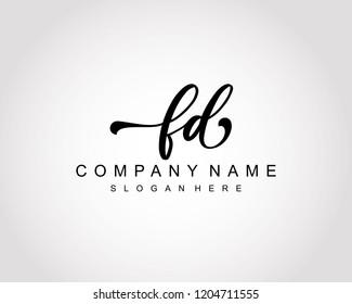 Initial FD handwriting logo vector