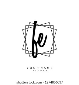 Initial FE handwriting logo vector