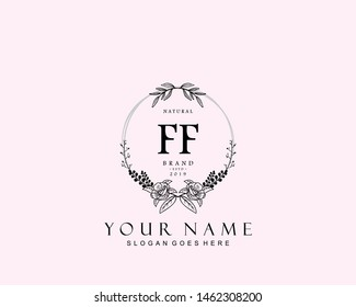 Initial FF beauty monogram and elegant logo design, handwriting logo of initial signature, wedding, fashion, floral and botanical with creative template.
