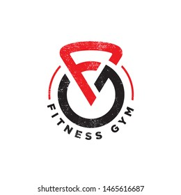 initial FG fitness gym logo design template - vector