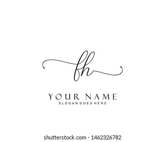 Initial FH beauty monogram and elegant logo design, handwriting logo of initial signature, wedding, fashion, floral and botanical with creative template.