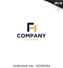 Initial FH Logo monogram design template. Simple shape style modern logo.