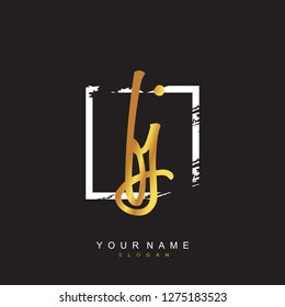 Initial FJ handwriting logo vector