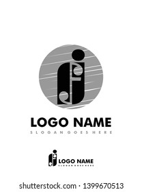 Initial FJ negative space logo with circle template