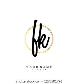 Initial FK handwriting logo vector