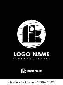 Initial FK negative space logo with circle template