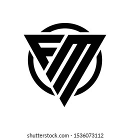 Initial FM triangle cool modern logo