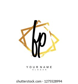 Initial FP handwriting logo vector