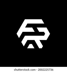 Initial FR letter logo, F and R negative space