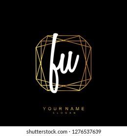 Initial FU handwriting logo vector