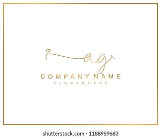 Initial A G handwriting logo template vector
