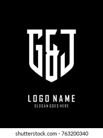 Initial G & J abstract shield logo template vector