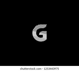 Initial G Letter Abstract Stripes Transition Monogram Logotype
