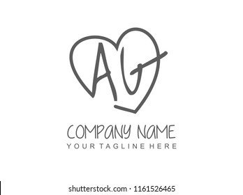 Initial A G with love logo template vector