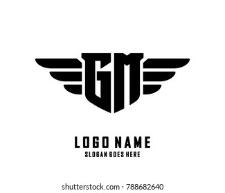 Initial G & M wing logo template vector