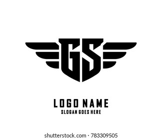 Initial G & S wing logo template vector