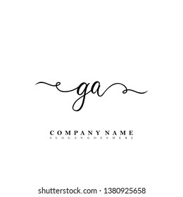 Initial GA handwriting logo vector template