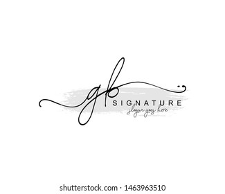 Initial GB beauty monogram and elegant logo design, handwriting logo of initial signature, wedding, fashion, floral and botanical with creative template.
