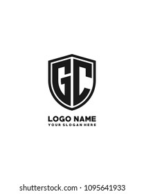 Initial GC abstract shield logo template vector