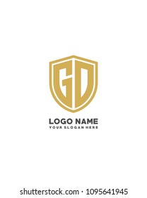 Initial GD abstract shield logo template vector