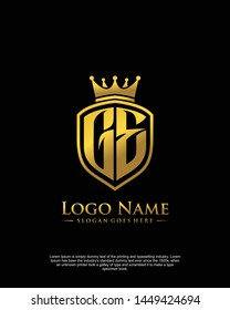 initial GE letter with shield style logo template vector