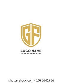 Initial GF abstract shield logo template vector