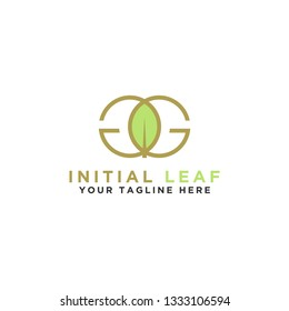 Initial GG logo. Stylish Monogram leaf design - Vector
