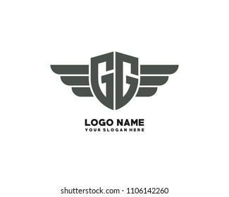 Initial GG wing logo template vector