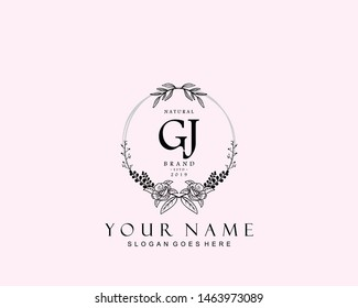 Initial GJ beauty monogram and elegant logo design, handwriting logo of initial signature, wedding, fashion, floral and botanical with creative template.