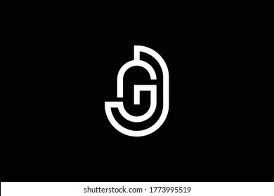 Initial GJ JG modern monogram and elegant logo design, Professional Letters Vector Icon Logo on black background.