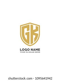 Initial GK abstract shield logo template vector
