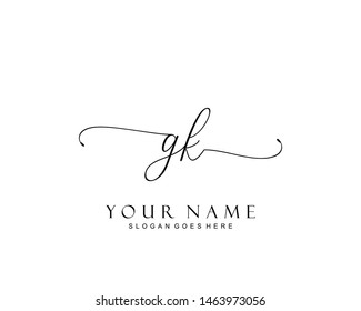 Initial GK beauty monogram and elegant logo design, handwriting logo of initial signature, wedding, fashion, floral and botanical with creative template.