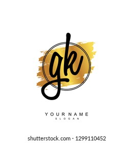Initial GK handwriting logo vector