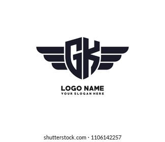 Initial GK wing logo template vector