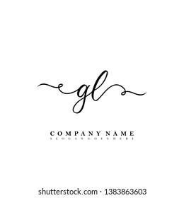 Initial GL handwriting logo template vector