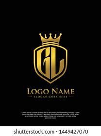 initial GL letter with shield style logo template vector