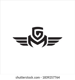 Initial GM wing logo template vector