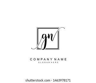 Initial GN beauty monogram and elegant logo design, handwriting logo of initial signature, wedding, fashion, floral and botanical with creative template.