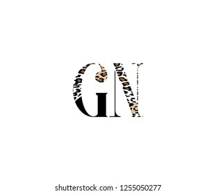 Initial GN Letter with Luxury Leopard Pattern Logotype