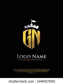 initial GN letter with shield style logo template vector