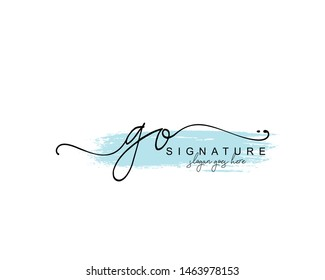 Initial GO beauty monogram and elegant logo design, handwriting logo of initial signature, wedding, fashion, floral and botanical with creative template.