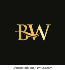 Initial Gold BW letter logo design. BW logo design with creative and modern trendy