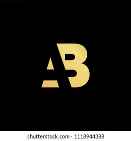 Initial Gold letter AB BA Logo Design with black Background Vector Illustration Template